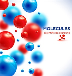 Blue and red molecules background3D molecule vector image vector image