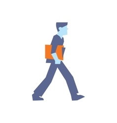 Businessman with orange folder walking vector image vector image