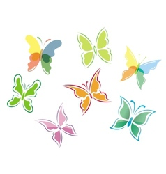 Butterfly symbols and icons vector image vector image
