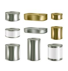 Canned food realistic blank metal package vector