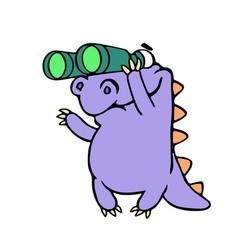 cartoon purple croc looking through binoculars vector image vector image