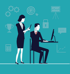 color background with team of executives with tech vector image vector image