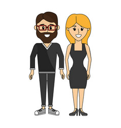 couples man with glasses and his wife vector image vector image