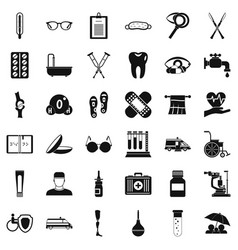 Disabled person icons set simple style vector