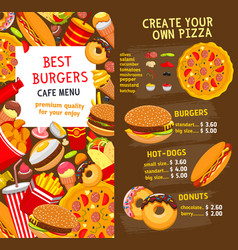 Fast food menu price template vector