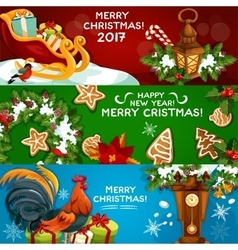 Festive christmas and new year banner set vector