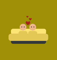 flat icon on stylish background gay in bed vector image
