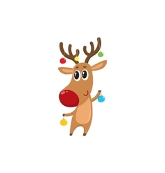 Funny reindeer holding balls for christmas tree vector