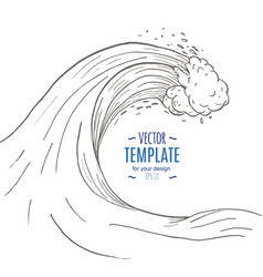 great wave in a vintage retro hand drawn style vector image