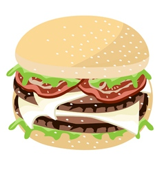 Juicy Cheese Burger on A White Background vector image vector image