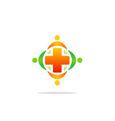 medicine cross hospital colored logo vector image