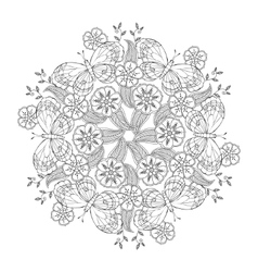 Mendie Mandala with butterflies on the meadow vector image vector image