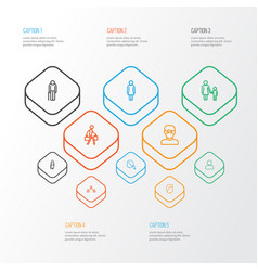 Person outline icons set collection of profile vector