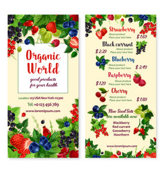 Price menu for berries and garden fruits vector