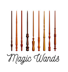 set of wooden magic wands on white background vector image vector image