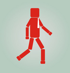 Side view of a businessman walking forward flat vector