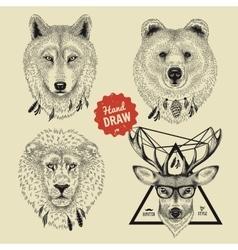 Sketch of wild animal heads bear wolf deer vector
