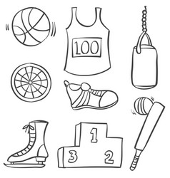 Sport equipment hand draw style doodle vector