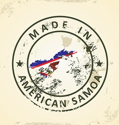 Stamp with map flag of american samoa vector