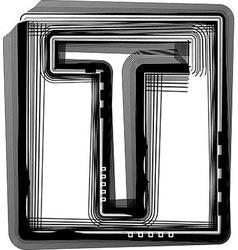 Striped font letter t vector