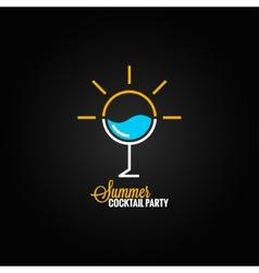 Summer cocktail glass design background vector
