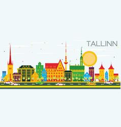 Tallinn skyline with color buildings and blue sky vector