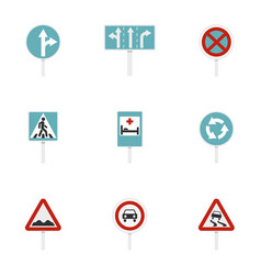 traffic sign icons set flat style vector image vector image