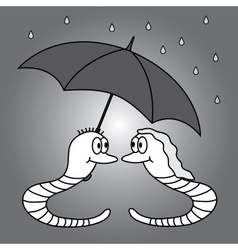 Two worms and rainy weather eps10 vector
