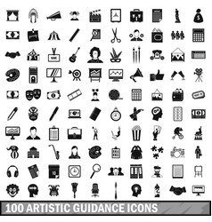 100 artistic guidance icons set simple style vector