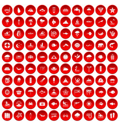 100 diving icons set red vector