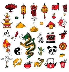 China icons sketch style vector
