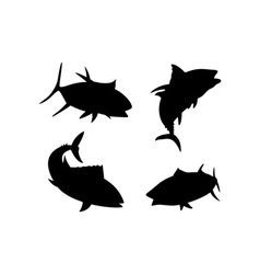 Yellow fin tuna fish silhouette vector