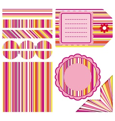 Easter set of stripe design elements vector
