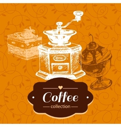 Vintage coffee background hand drawn sketch vector