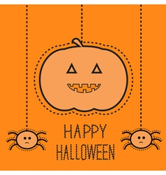 Hanging pumpkin and two spiders dash line vector