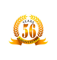 56 years ribbon anniversary vector image