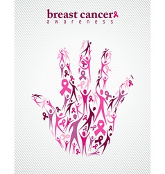 Breast cancer awareness pink ribbon women hand vector