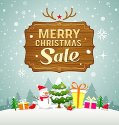 Christmas sale concept with wood board vector