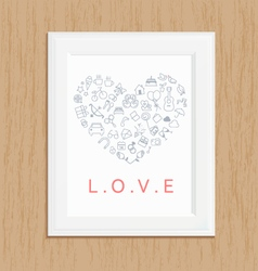 Love icon photo frame on wood vector