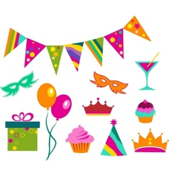 Colorful party set vector
