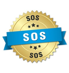 Sos 3d gold badge with blue ribbon vector