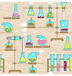 Seamless pattern with chemistry elements vector image