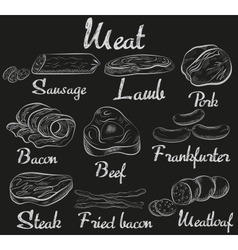 Retro meat chalk icons on chalkboard set steak vector