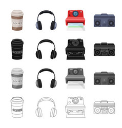 A glass of coffee an earphone a camera polaroid vector