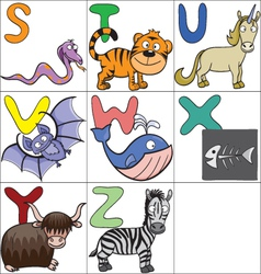 Alphabet with cartoon animals 3 vector image
