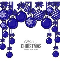 Blue christmas balls with ribbon and bows vector