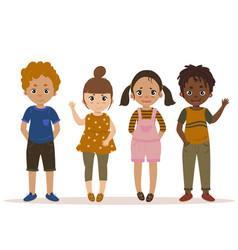 boys and girls kid set cartoon vector image