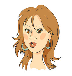 Cartoon image of female face vector