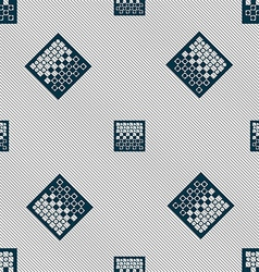 Checkers board icon sign seamless pattern with vector