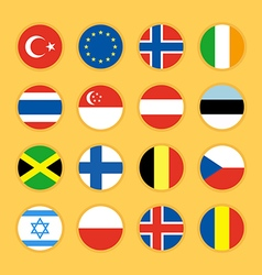 Collection of circle flag icon flat design vector image